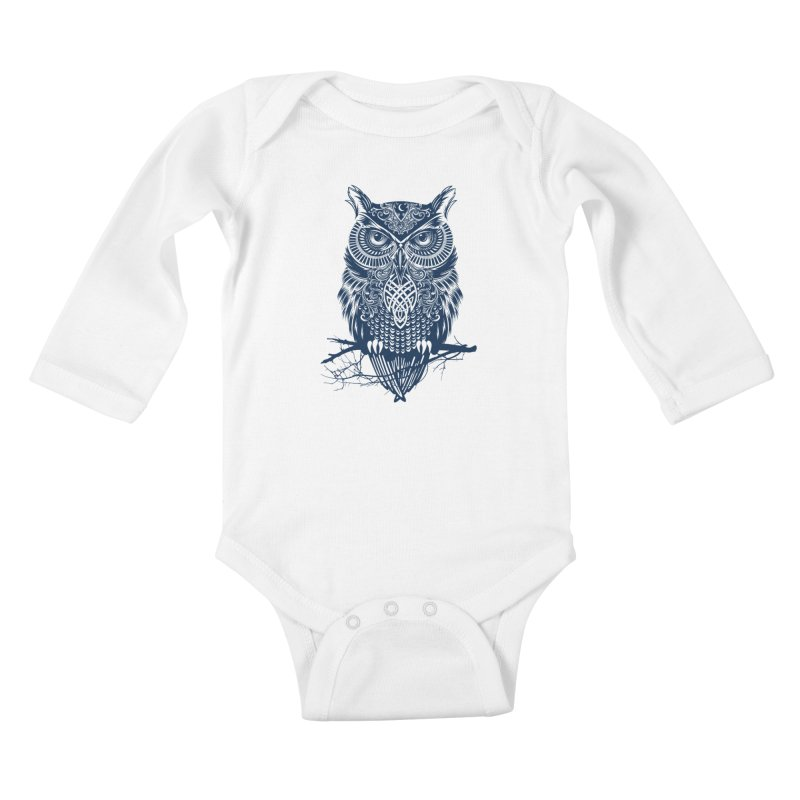 Warrior Owl Kids Baby Longsleeve Bodysuit by rcaldwell's Shop