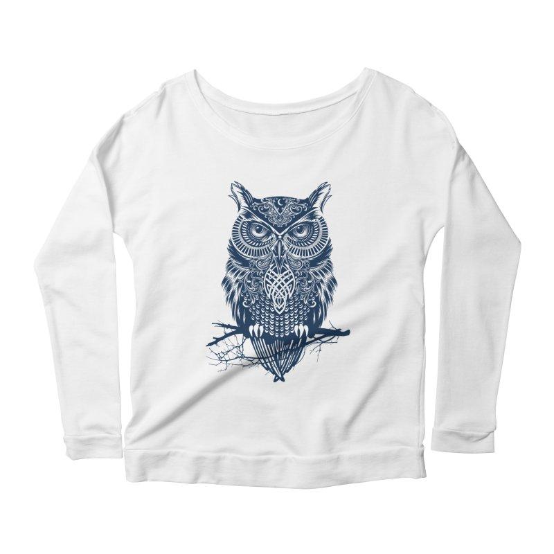 Warrior Owl Women's Longsleeve Scoopneck  by rcaldwell's Shop