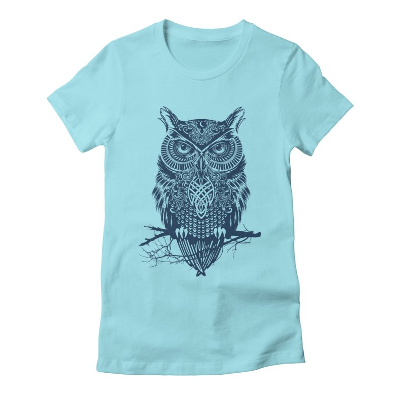 Warrior Owl Women's Fitted T-Shirt by rcaldwell's Shop
