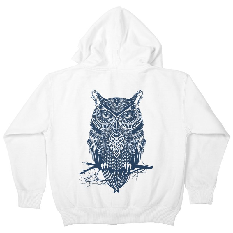 Warrior Owl Kids Zip-Up Hoody by rcaldwell's Shop