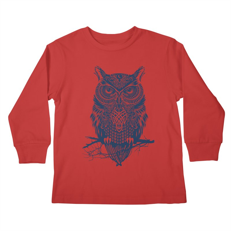 Warrior Owl Kids Longsleeve T-Shirt by rcaldwell's Shop