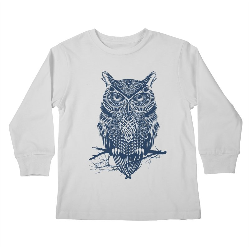 Warrior Owl Kids Longsleeve T-Shirt by rcaldwell's Shop