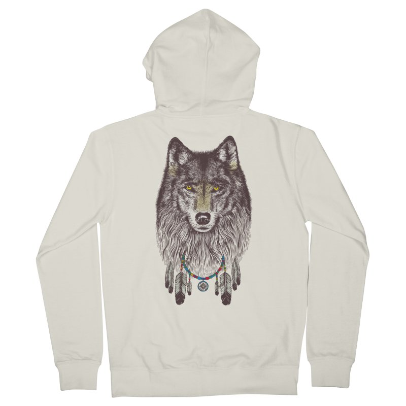 Dream Catcher Wolf Men's Zip-Up Hoody by rcaldwell's Shop