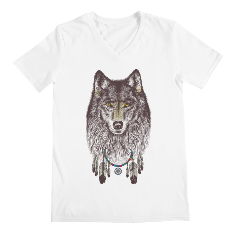 Dream Catcher Wolf Men's V-Neck by rcaldwell's Shop