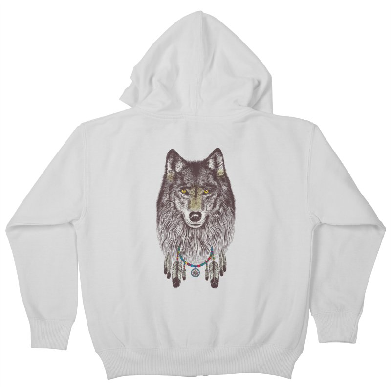 Dream Catcher Wolf Kids Zip-Up Hoody by rcaldwell's Shop