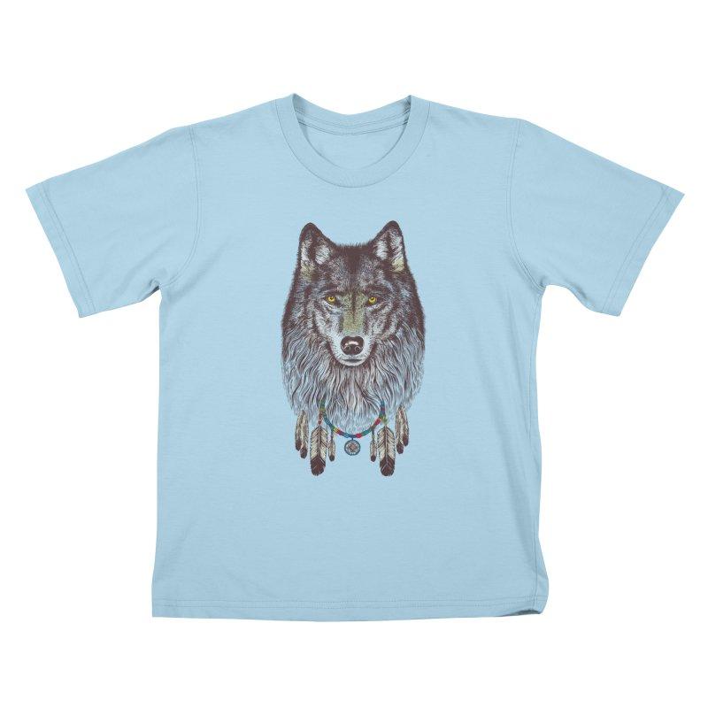 Dream Catcher Wolf Kids T-shirt by rcaldwell's Shop