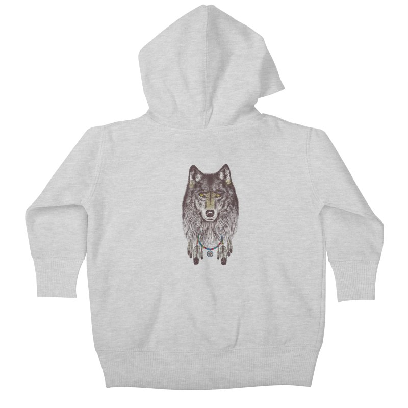 Dream Catcher Wolf Kids Baby Zip-Up Hoody by rcaldwell's Shop
