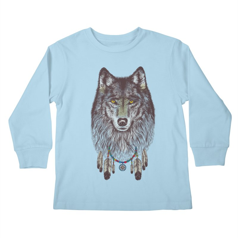 Dream Catcher Wolf Kids Longsleeve T-Shirt by rcaldwell's Shop