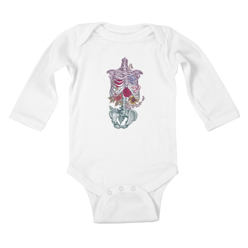 Rib Cage with Flowers Kids Baby Longsleeve Bodysuit by rcaldwell's Shop
