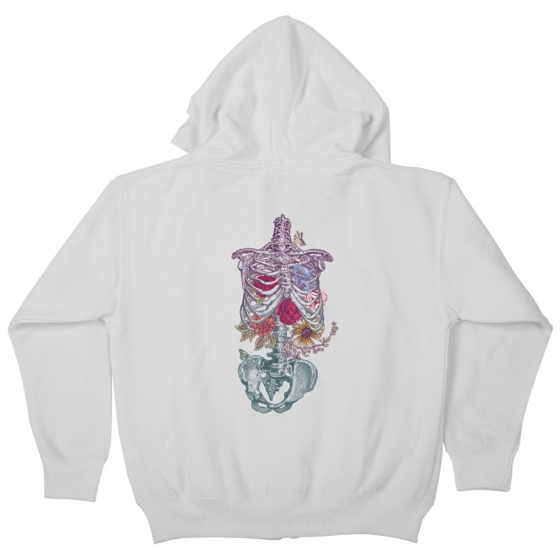 Rib Cage with Flowers Kids Zip-Up Hoody by rcaldwell's Shop