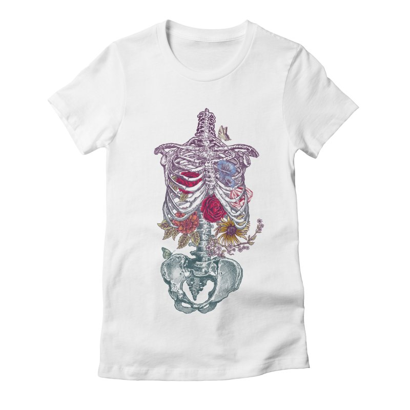 Rib Cage with Flowers Women's Fitted T-Shirt by rcaldwell's Shop