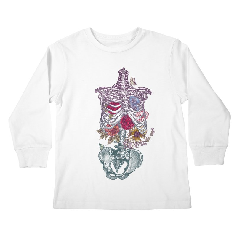 Rib Cage with Flowers Kids Longsleeve T-Shirt by rcaldwell's Shop