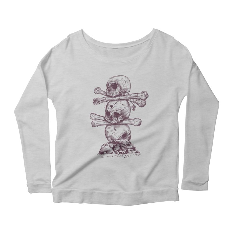 Skull Totem Women's Longsleeve Scoopneck  by rcaldwell's Shop