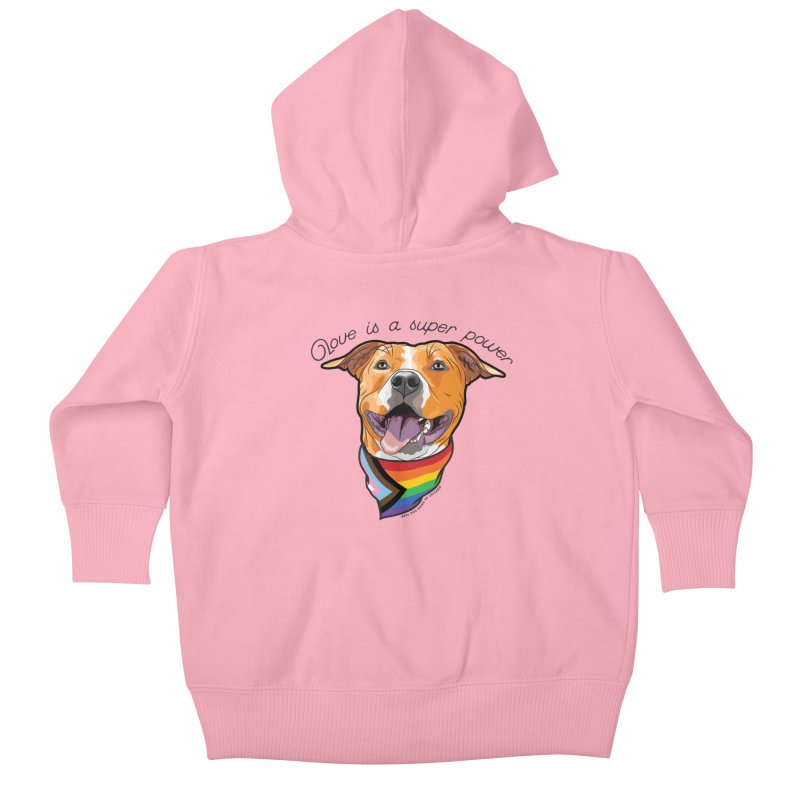Love is a Super Power Kids Baby Zip-Up Hoody by rdmoc's Artist Shop