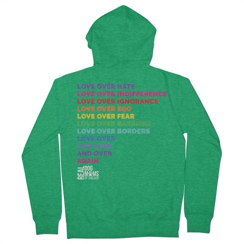 Love Over Everything - White Logo Women's Zip-Up Hoody by rdmoc's Artist Shop