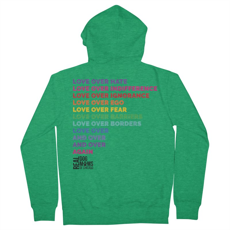 Love Over Everything - Black Logo Women's Zip-Up Hoody by rdmoc's Artist Shop