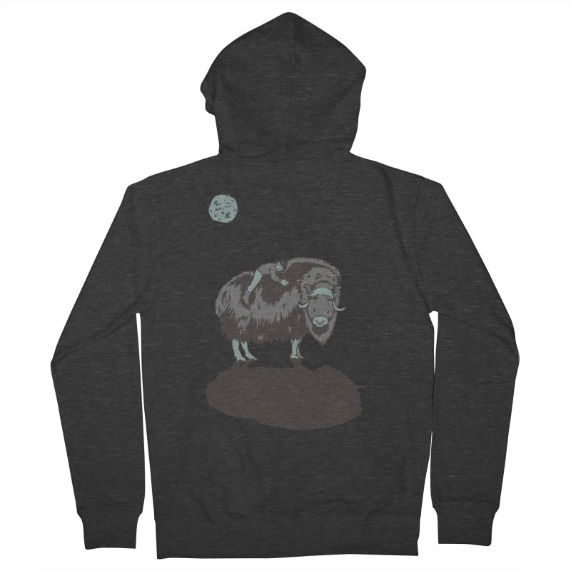 Muskox by Moonlight Men's Zip-Up Hoody by readyyetiart's Artist Shop