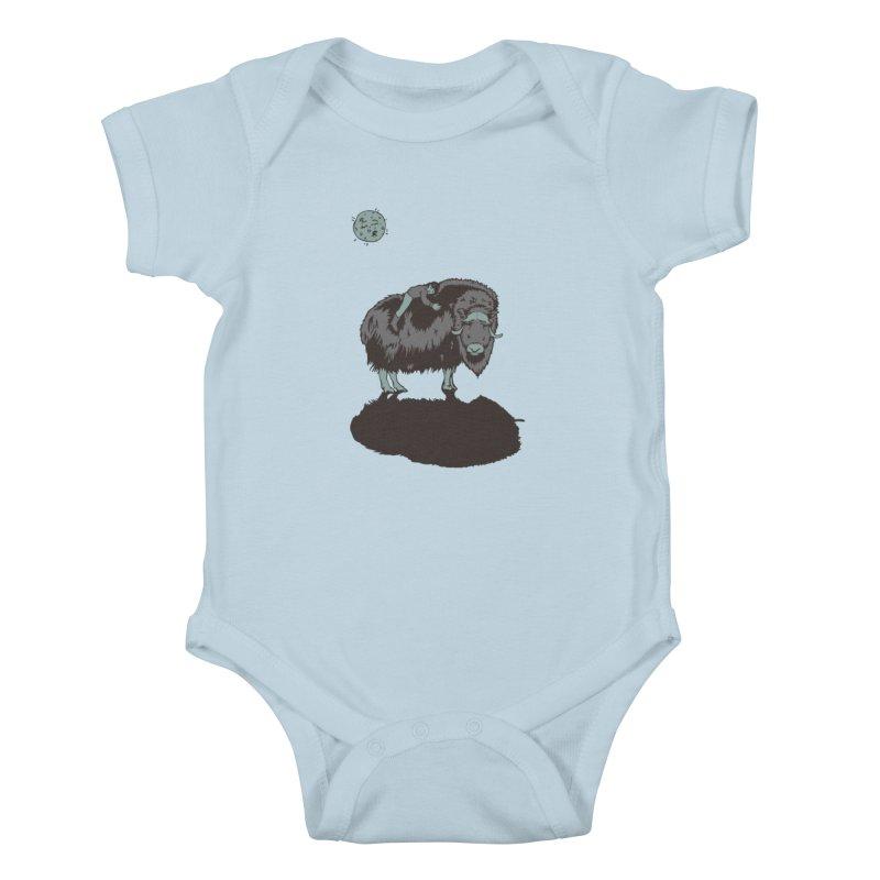 Muskox by Moonlight Kids Baby Bodysuit by readyyetiart's Artist Shop