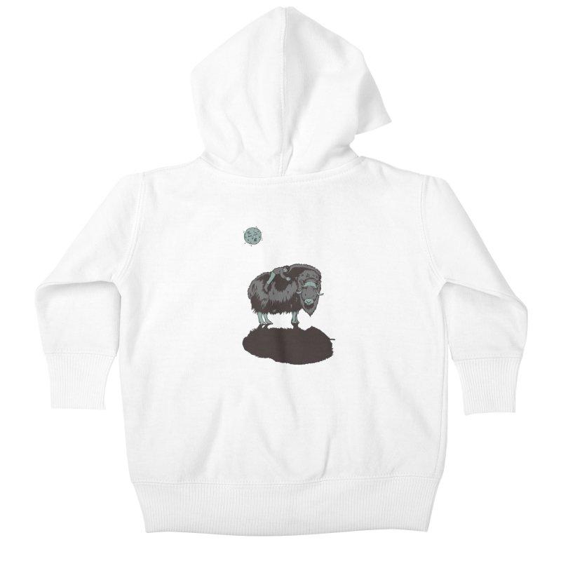 Muskox by Moonlight Kids Baby Zip-Up Hoody by readyyetiart's Artist Shop