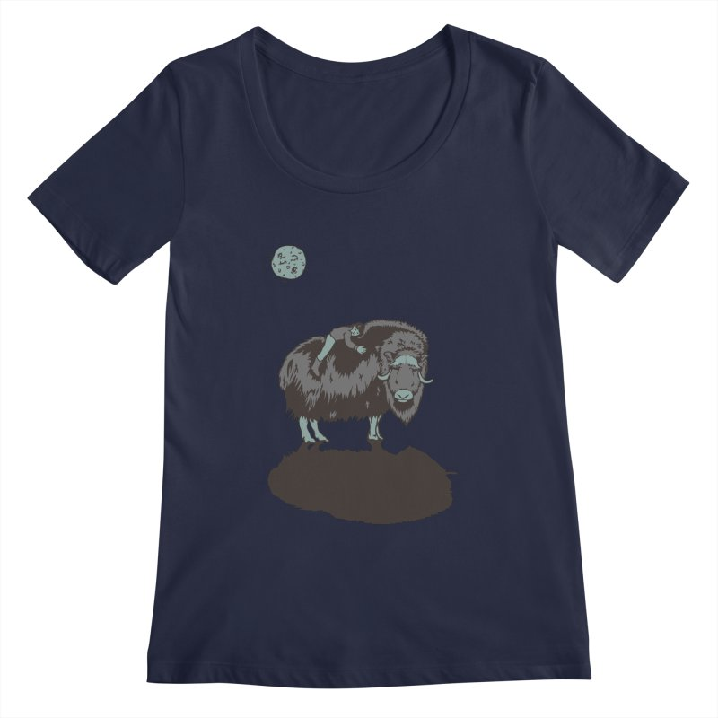 Muskox by Moonlight Women's Scoopneck by readyyetiart's Artist Shop