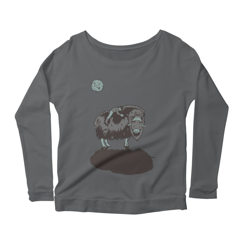 Muskox by Moonlight Women's Longsleeve Scoopneck  by readyyetiart's Artist Shop