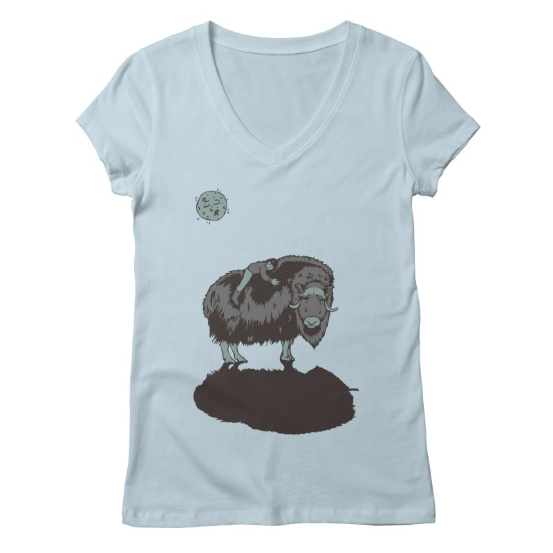 Muskox by Moonlight Women's V-Neck by readyyetiart's Artist Shop