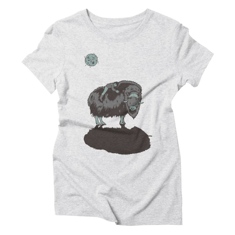 Muskox by Moonlight Women's Triblend T-shirt by readyyetiart's Artist Shop