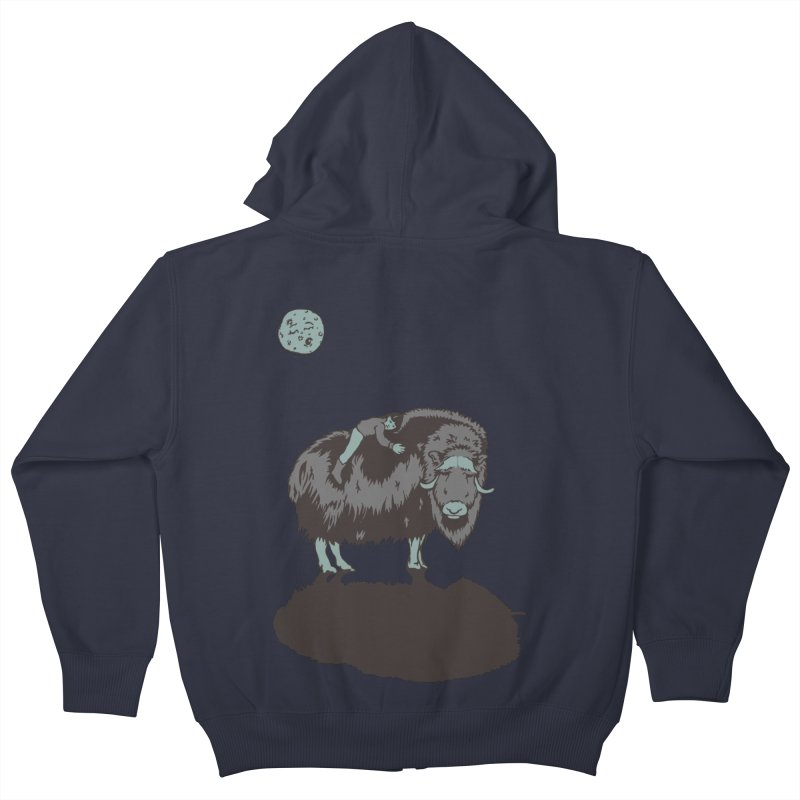 Muskox by Moonlight Kids Zip-Up Hoody by readyyetiart's Artist Shop