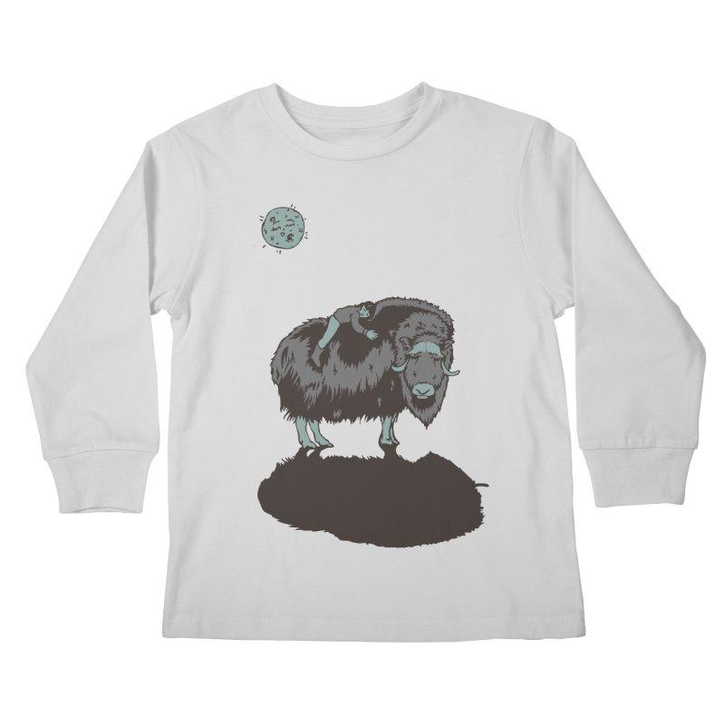 Muskox by Moonlight Kids Longsleeve T-Shirt by readyyetiart's Artist Shop