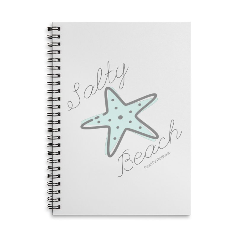 Salty Beach Green Accessories Lined Spiral Notebook by RealiTV Podcast Shop