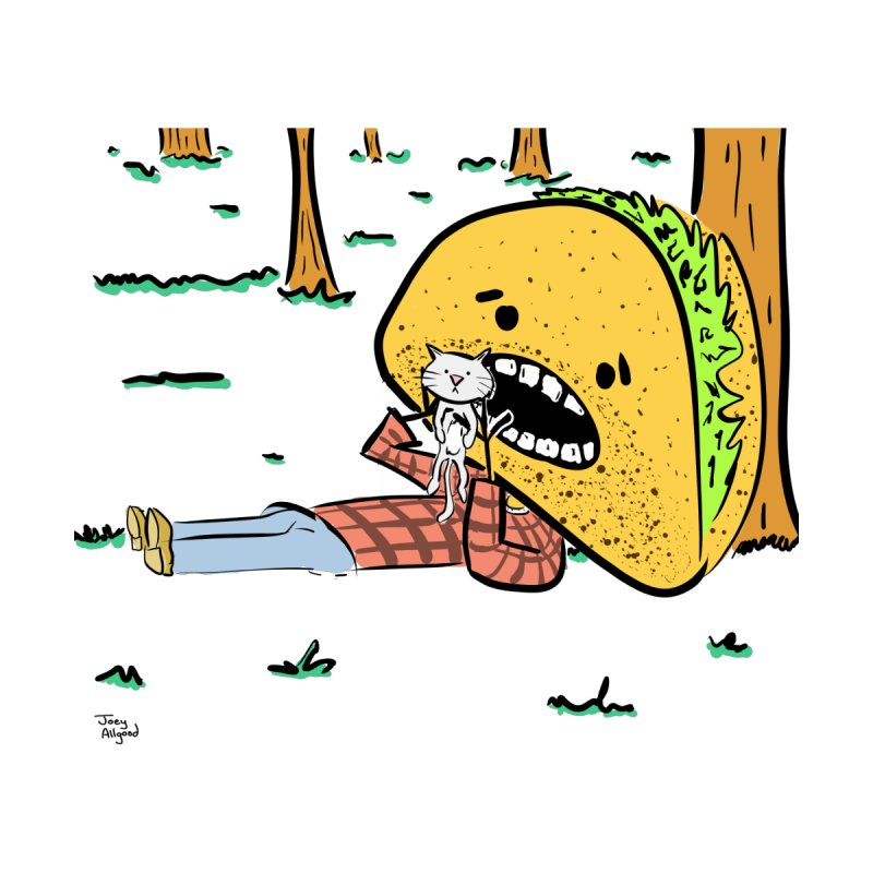 hungry taco tries not to eat kitty. by realweirdart's Shop
