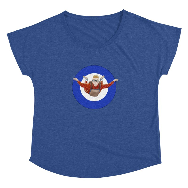 Skydiver (blue) Women's Dolman Scoop Neck by RealZeal's Artist Shop