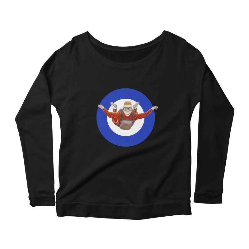 Skydiver (blue) Women's Scoop Neck Longsleeve T-Shirt by RealZeal's Artist Shop