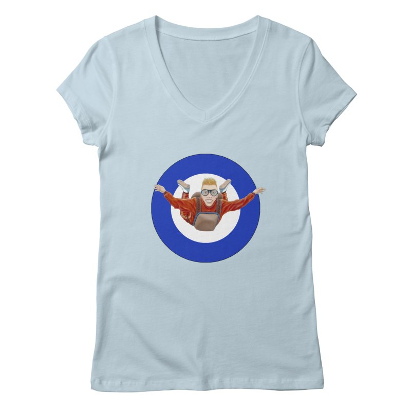 Skydiver (blue) Women's V-Neck by RealZeal's Artist Shop