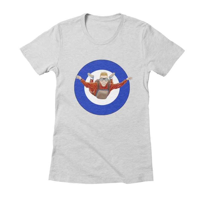 Skydiver (blue) Women's Fitted T-Shirt by RealZeal's Artist Shop