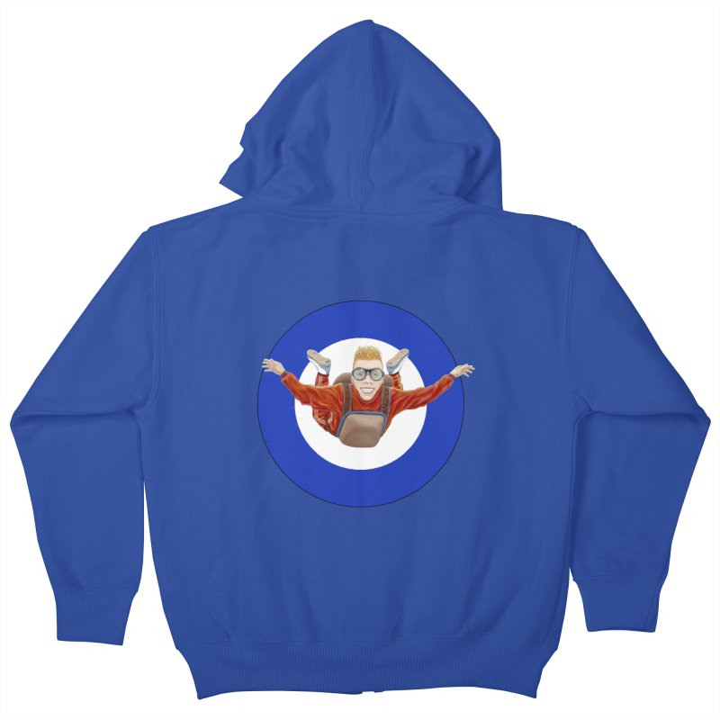 Skydiver (blue) Kids Zip-Up Hoody by RealZeal's Artist Shop