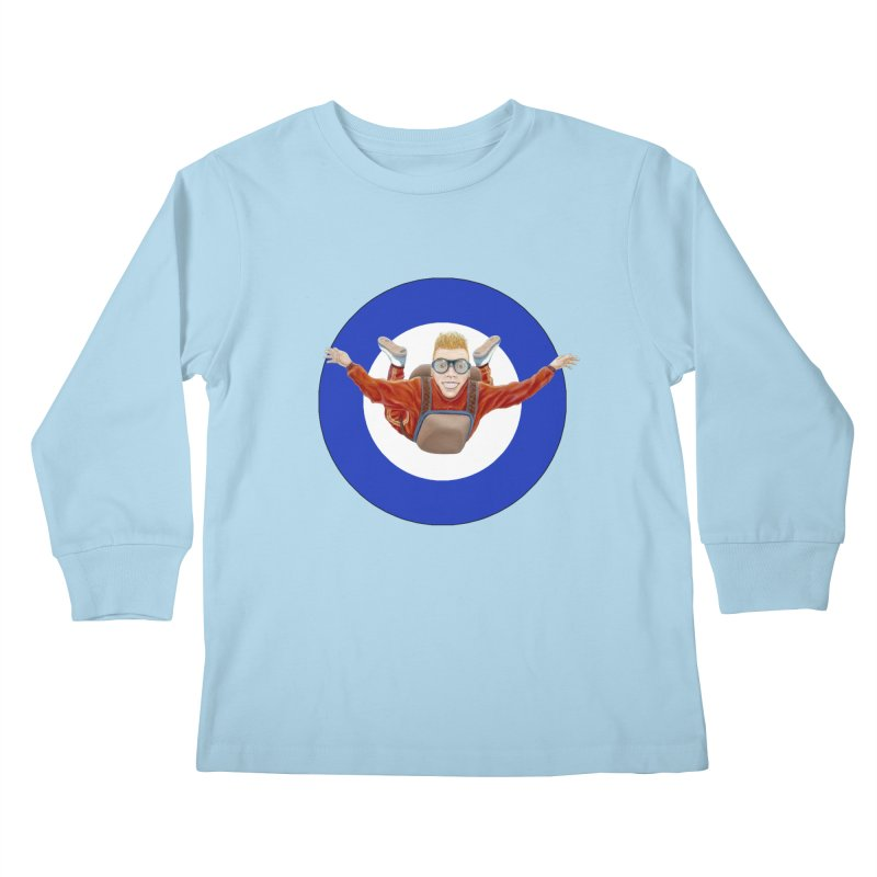 Skydiver (blue) Kids Longsleeve T-Shirt by RealZeal's Artist Shop