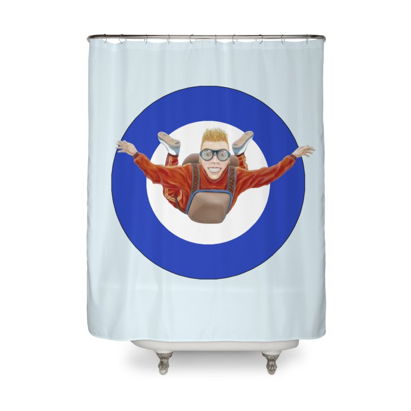 Skydiver (blue) Home Shower Curtain by RealZeal's Artist Shop