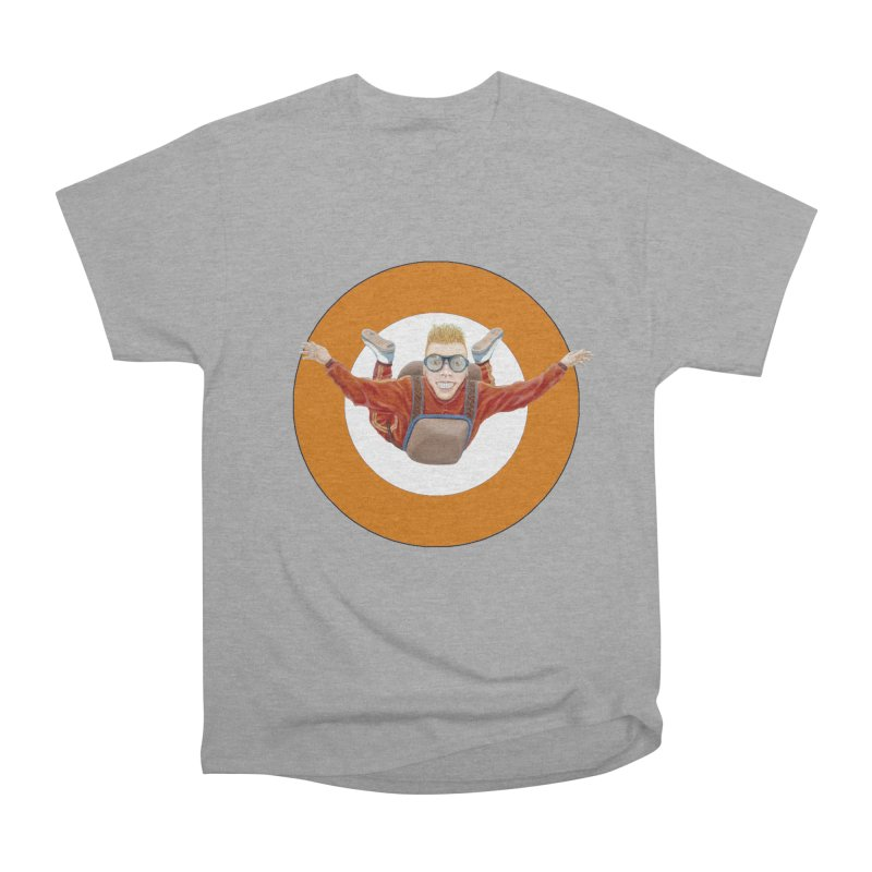 Skydiver (Orange) Men's Heavyweight T-Shirt by RealZeal's Artist Shop