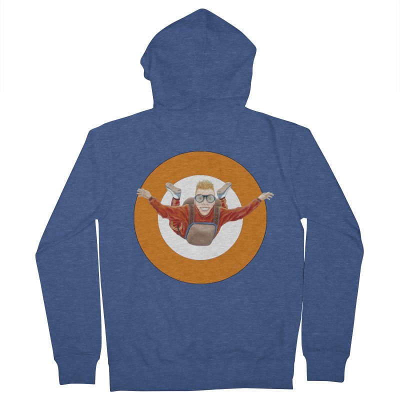 Skydiver (Orange) Men's French Terry Zip-Up Hoody by RealZeal's Artist Shop