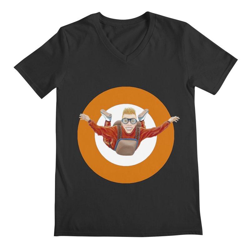 Skydiver (Orange) Men's V-Neck by RealZeal's Artist Shop