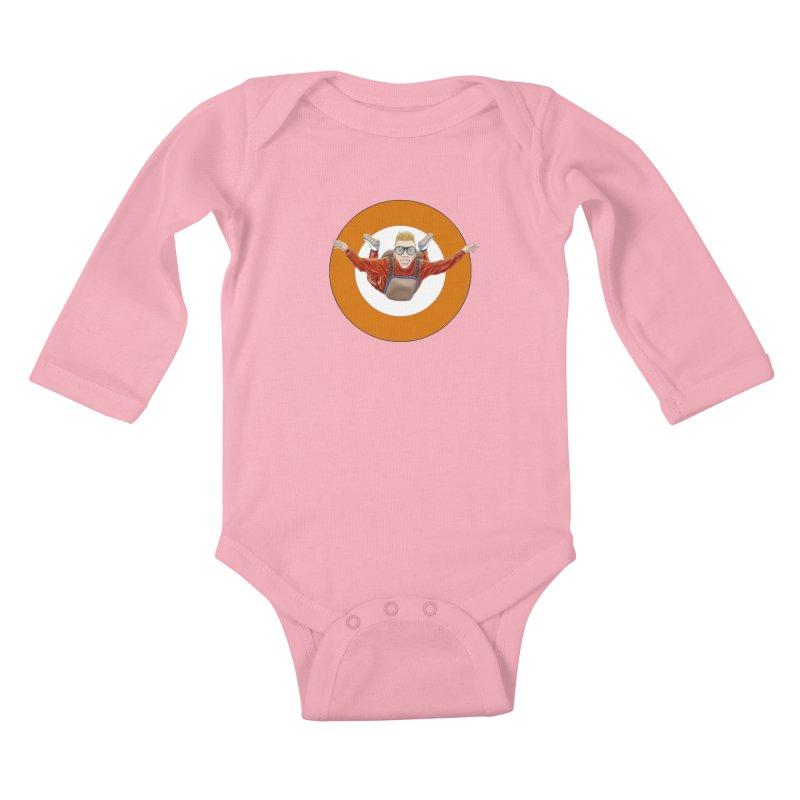 Skydiver (Orange) Kids Baby Longsleeve Bodysuit by RealZeal's Artist Shop