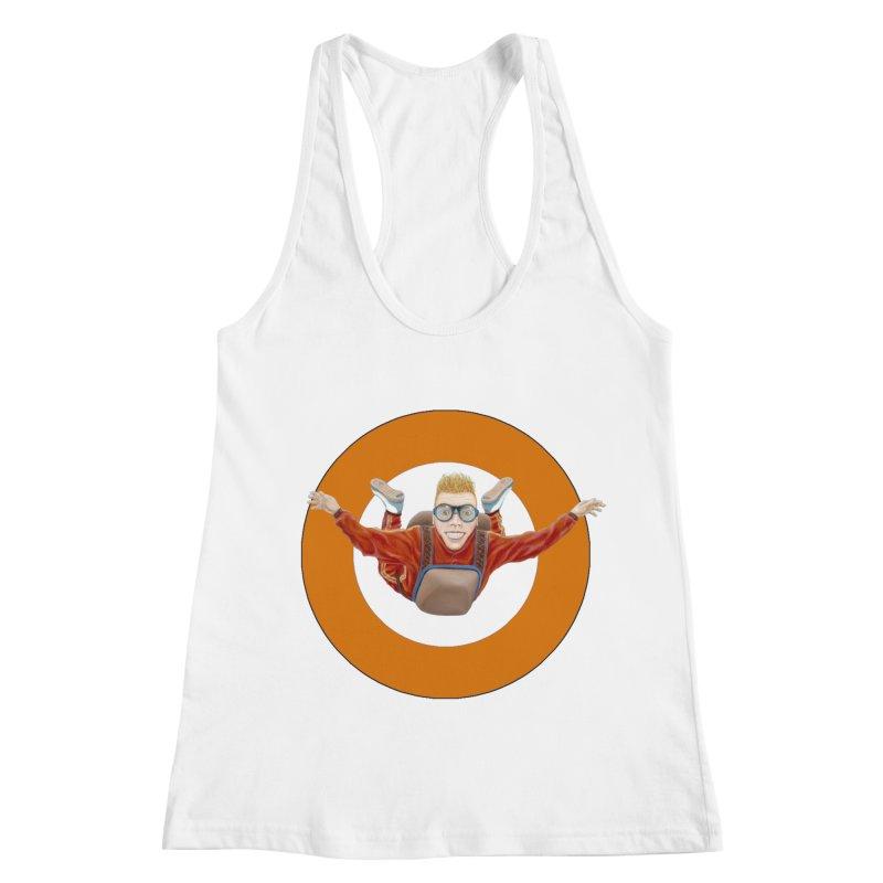 Skydiver (Orange) Women's Racerback Tank by RealZeal's Artist Shop