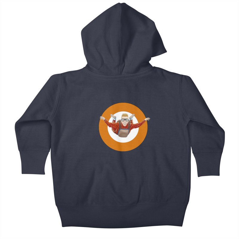 Skydiver (Orange) Kids Baby Zip-Up Hoody by RealZeal's Artist Shop
