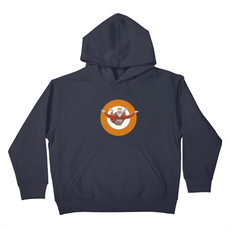 Skydiver (Orange) Kids Pullover Hoody by RealZeal's Artist Shop