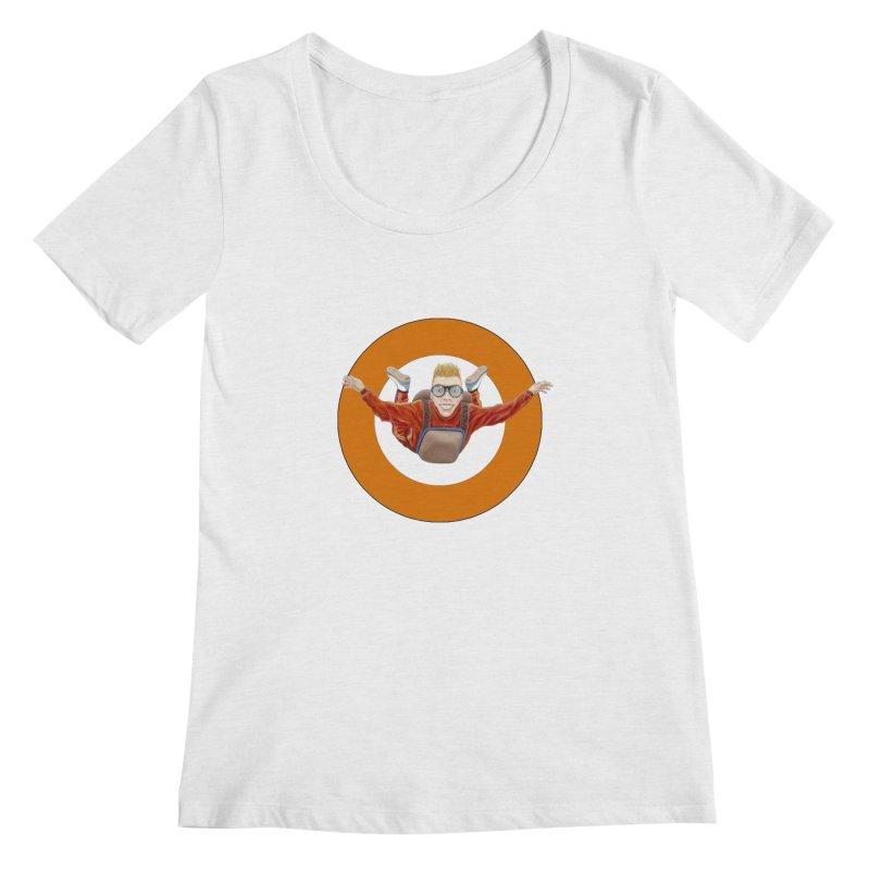 Skydiver (Orange) Women's Scoop Neck by RealZeal's Artist Shop