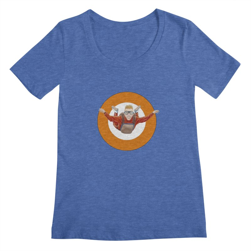 Skydiver (Orange) Women's Scoopneck by RealZeal's Artist Shop