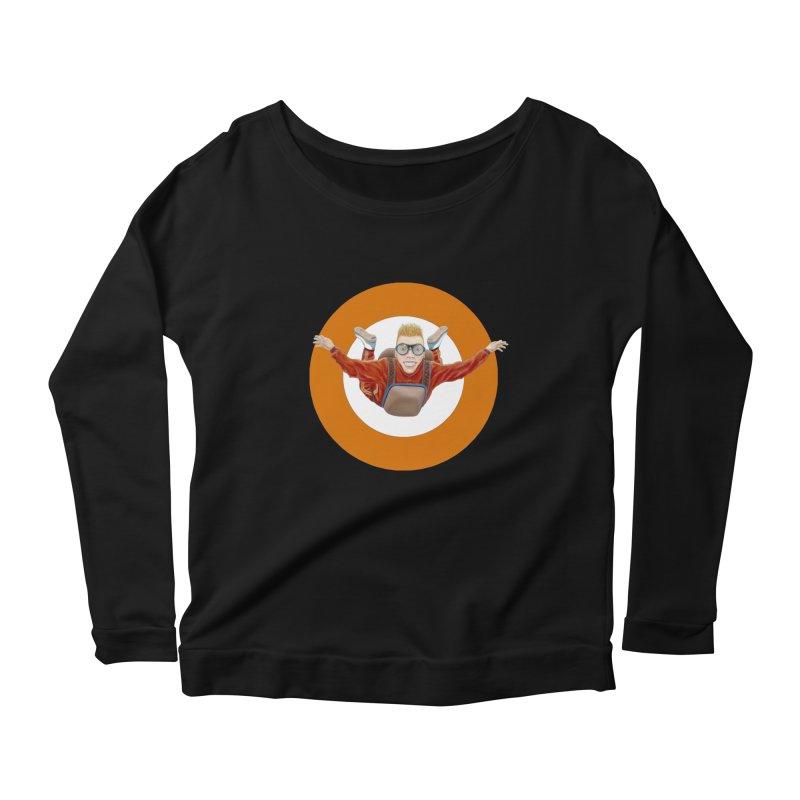 Skydiver (Orange) Women's Scoop Neck Longsleeve T-Shirt by RealZeal's Artist Shop