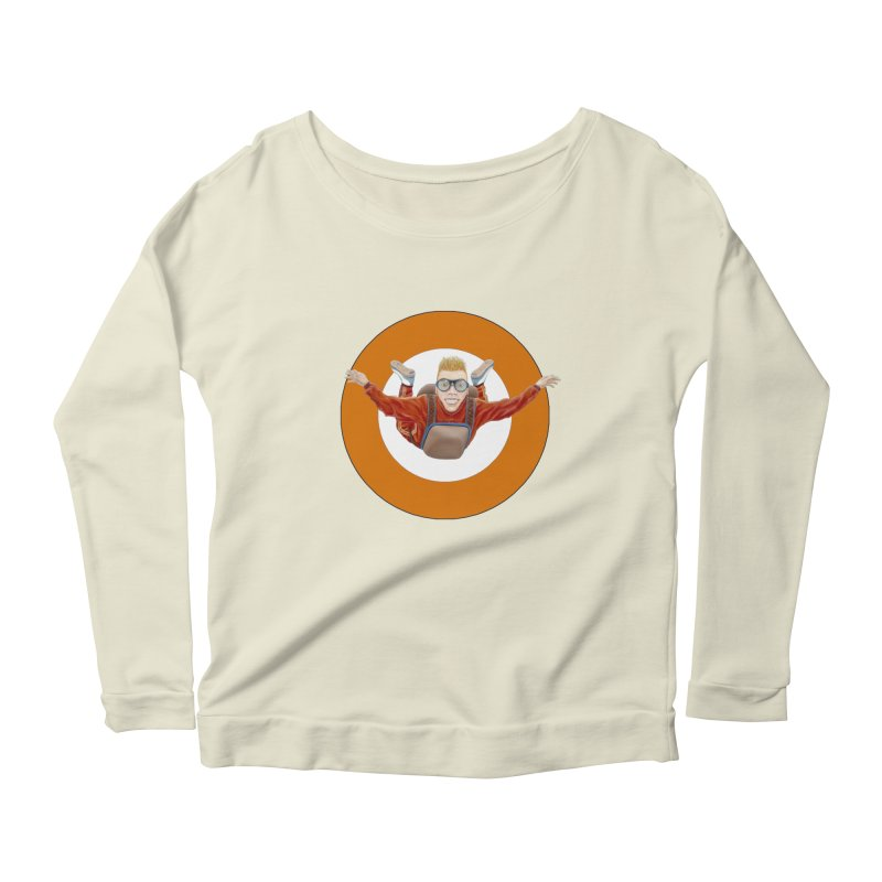 Skydiver (Orange) Women's Scoop Neck Longsleeve T-Shirt by RealZeal's Artist Shop