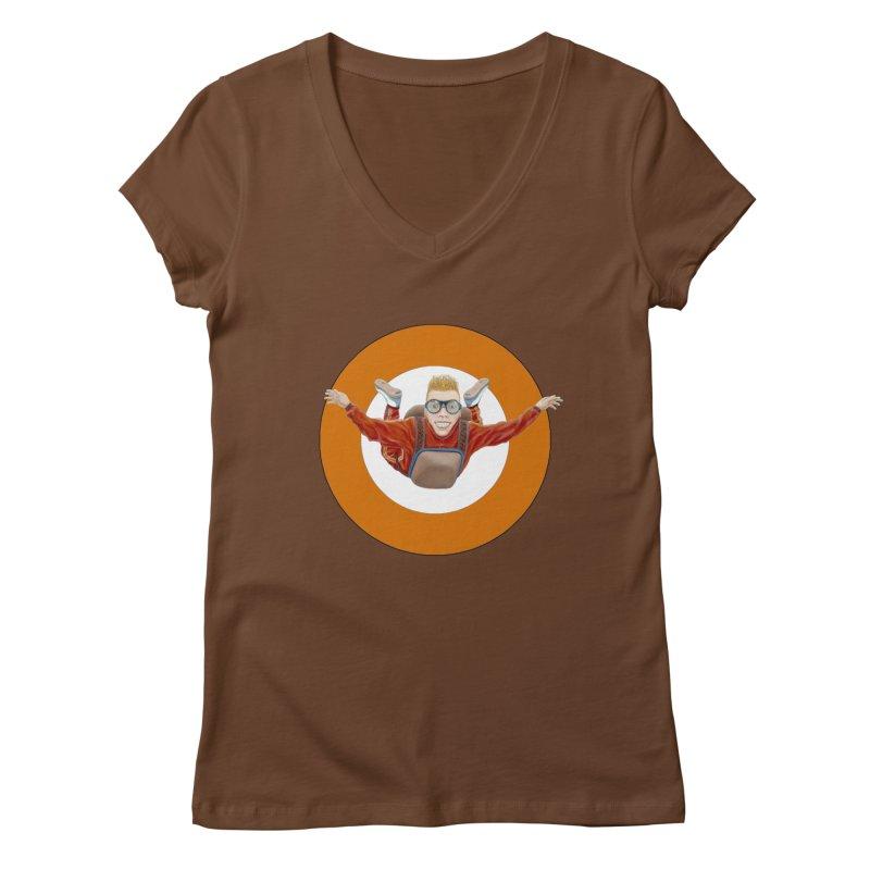 Skydiver (Orange) Women's Regular V-Neck by RealZeal's Artist Shop
